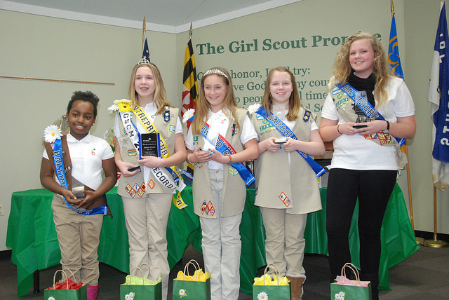 2015 County/City Top Cookie Sellers Pictured from left: Baltimore City: Kayin Britt; Anne Arundel: Jenna Diehl; Howard:Morgan Stolba; Carroll: Erin Saunders; Baltimore: Olivia Wikstrom; Harford: Katherine Smith (not pictured)