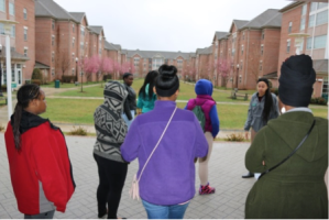 The girls are led on a tour of the Stevenson campus.