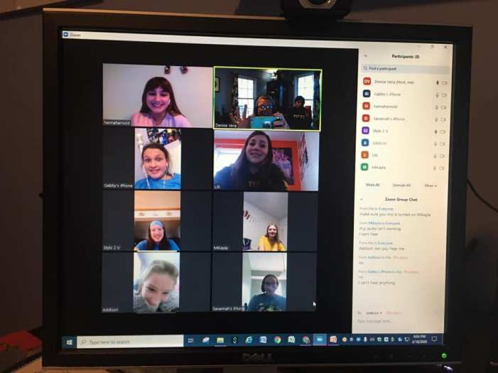 Virtual Girl Scout Meeting discussing a Journey they are completing.